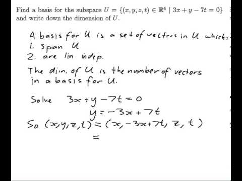 EXAMPLE: Finding a basis for a subspace defined by a linear equation