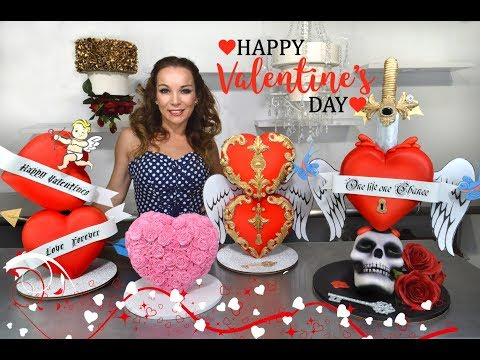 Valentine's Hearts Stacked Gravity Defying Cake