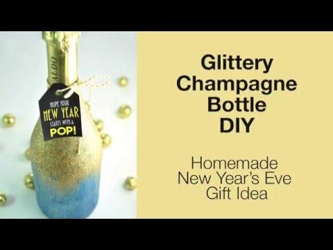Glittery Champagne Bottle DIY