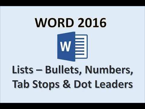 Word 2016 - Create and Modify Lists
