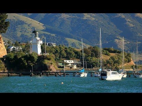 Akaroa New Zealand. Car trip from Christchurch to Akaroa