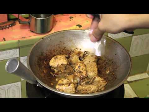Cooking pork adobo with pineapple