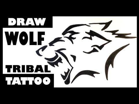 Drawing a Wolf - Tribal Tattoo Design - Draw Tattoo Art