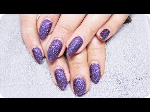 Matte Purple Glitter nails with Gel Polish // How to do Gel Nails at Home