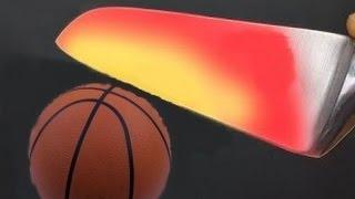 Glowing 1000 degree KNIFE VS Basketball.