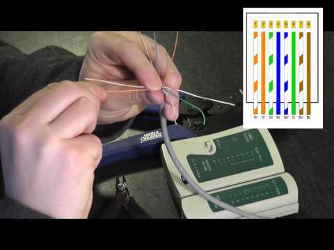 How to wire a RJ45 Plug onto Cat5 Cable (HD)