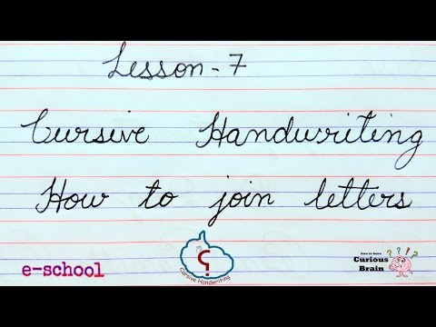 Cursive handwriting lesson 7 | How to join cursive letters Tutorial  | step by Step