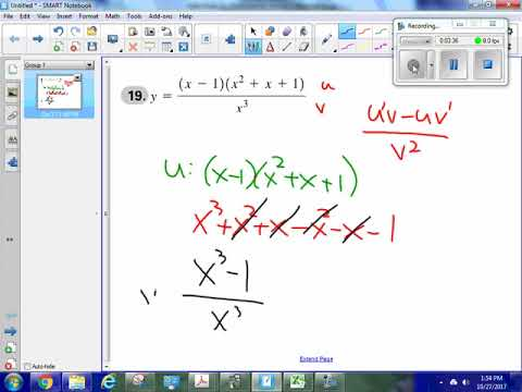 Find the derivative; Quotient rule, product rule; difference of two perfect cubes