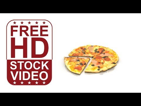 FREE download HD videos – pizza with olives on white background spinning slowly 360 degrees