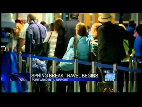 Spring break travelers crowd PDX Airport