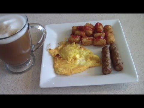 AIR FRYER EGGS TATER TOTS & SAUSAGE WITH NINJA BAR COFFEE airfryer complete breakfast Hash Browns