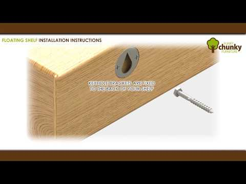 How to fit a floating shelf with keyhole brackets. Handmade rustic furniture.