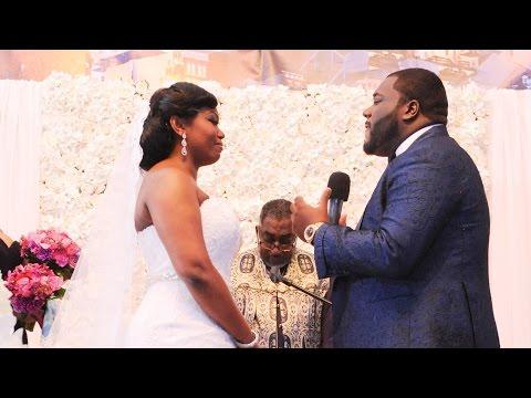 Groom singing to his bride at wedding ceremony
