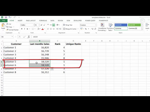 Unique Rank in Excel - Combining Rank and CountIF