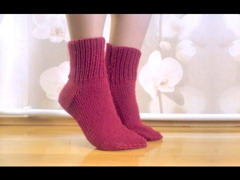 Knitting easy socks on two needles (tutorial for BEGINNER) Носки на 2 спицах