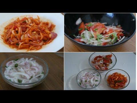 3 Onion Salad Recipes l Salads for cutlets and biriyani l Ulli Challas Recipe l Sallas