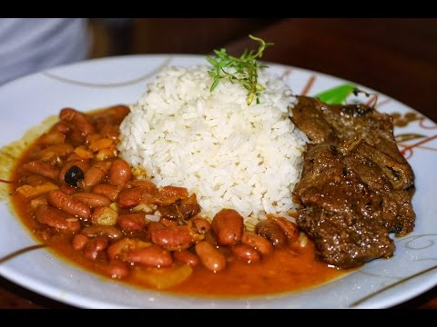How to make: Bistec con arroz blanco y frijoles rojos Cuban Style  (White Rice, Red Beans and Steak)