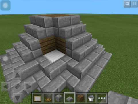 MINECRAFT PE how to build a pointed roof on a circle and square house