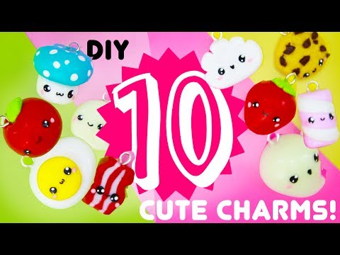 5-minute CLAY DIYS!! - 10 Quick and EASY KAWAII Charms!