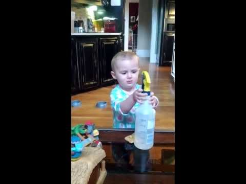 My daughter learns how to use a squirt bottle...