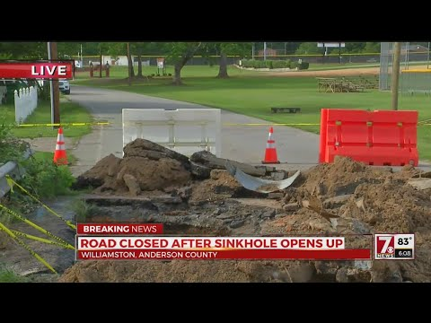 Road shuts down after sinkhole opens in Williamston