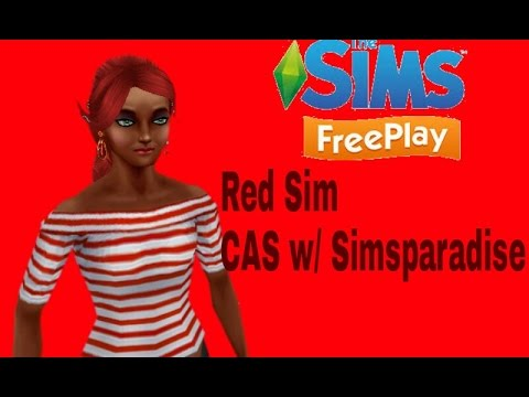 Sims Freeplay-CAS- Red Sim Challenge w/ Simsparadise!