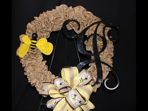 How to make a burlap ruffle wreath. Easy to follow instructions