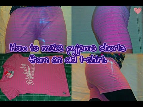 How to make pyjama shorts from an old T-shirt tutorial. Easy beginner DIY