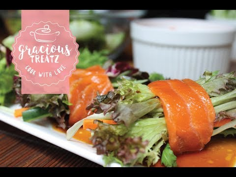 Salmon Salad Roll with Japanese Wafu Dressing Recipe