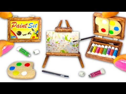 Miniature DIY Paint Set (paintings, easel, palette, acrylic colors) - Art Supplies - YolandaMeow♡