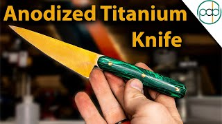 Making a Golden Anodized Titanium Knife with Malachite Scales - Part 2
