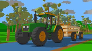 Construction and Application A tractor and carrot machine - Factory and Feeding Horse with Carrots