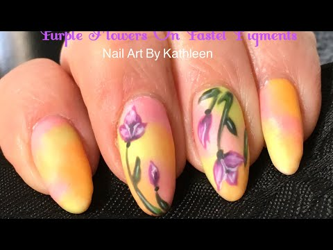 Purple Flowers On Pastel Nails - DIY Nail Art