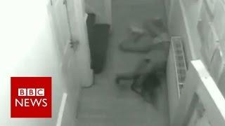 Brutal domestic attack caught on CCTV - BBC News