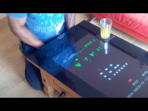 Pine Coffee Table With Built In Retro Classic Arcade Machine