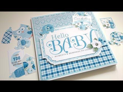 Hello Baby Boy 8x8 Envelope Mini Album Tutorial