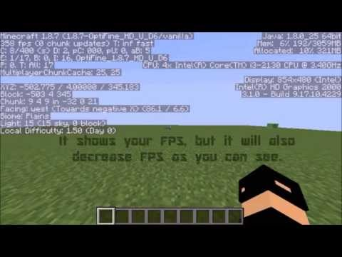 How to show your FPS in Minecraft with Optifine (& w/out F3 lag.)