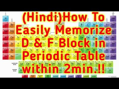 (Hindi)How To Easily Memorize D & F Block in Periodic Table within 2min.!!2018