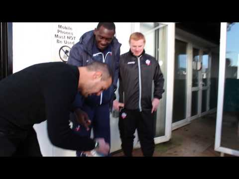 Paddy McGuinness cleans Emile Heskey's Football Boots