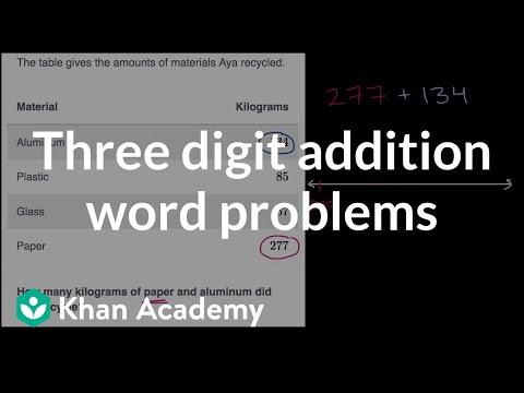 Three digit addition word problems