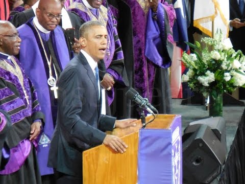 My View - POTUS Obama singing Amazing Grace - Hon. Rev. Clementa C. Pinckney Funeral CHS