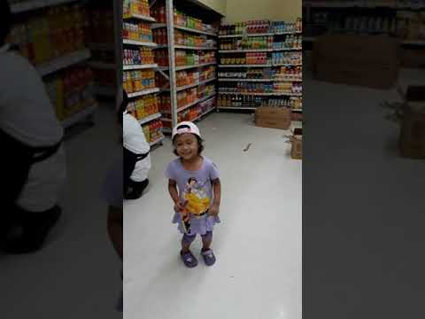 Jasi dancing at the grocery  store