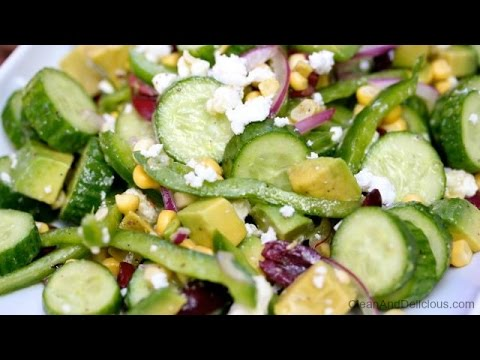 Persian Cucumber Salad With Corn And Feta - Clean & Delicious