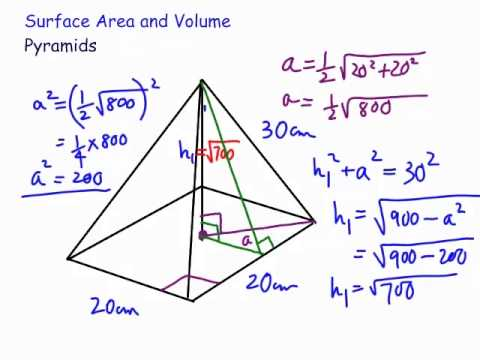 Volume and Surface Area : Square Pyramid