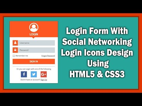 Login Form With Social Networking Icons Design Using HTML5 & CSS3