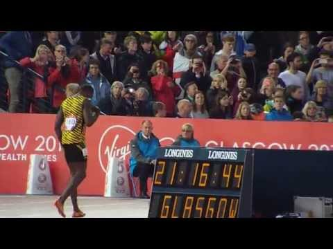Usain Bolt preperations for 4 x100m final at Glasgow Commonwealth Games