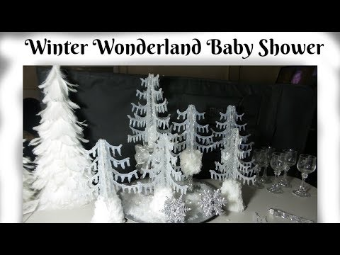 DIY  Dollar Tree CENTERPIECES WINTER WONDERLAND for baby shower