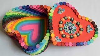 quilled Heart box/ Rainbow quilled box/ Heart box/ Handmade valentine gift