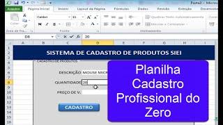 Excel Avançado Profissional - Criando Planilha Profissional De Cadastros Do Zero