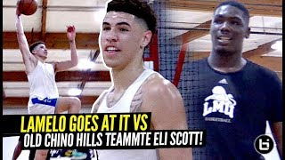 LaMelo Ball Lookin' SWOLE AF & GOES AT IT vs Pros & OLD Chino Hills Teammate Eli Scott!!